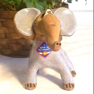 Vintage Hand Made Stoneware Elephant